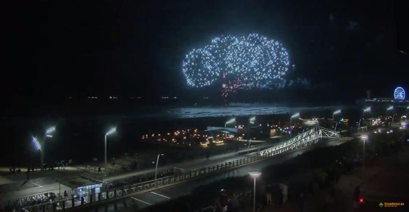 Vuurwerkshow op Hoekse strand tijdens jaarwisseling