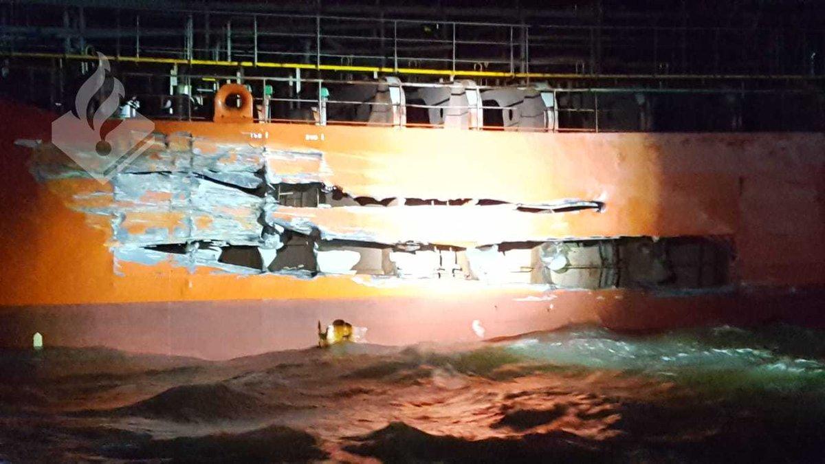 Licht gewonden na aanvaring olietanker met passagiersschip