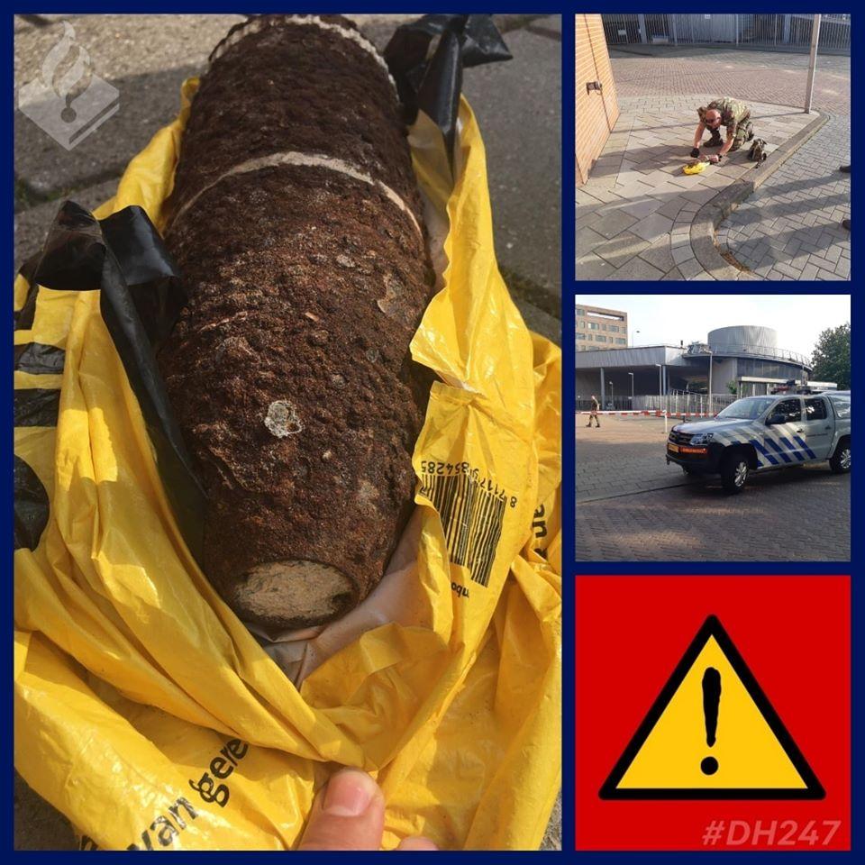 Gevonden granaat naar politiebureau gebracht