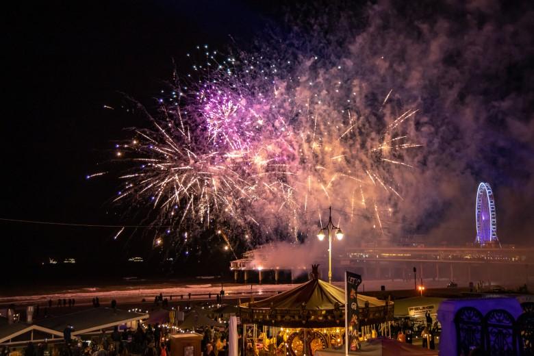 Vuurwerkshow op de Scheveningse Pier