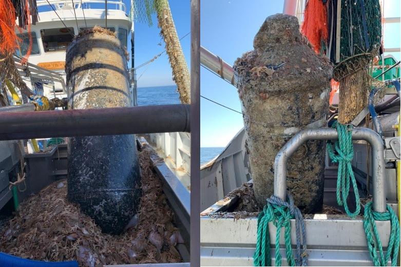 Zware zeemijn in de visnetten